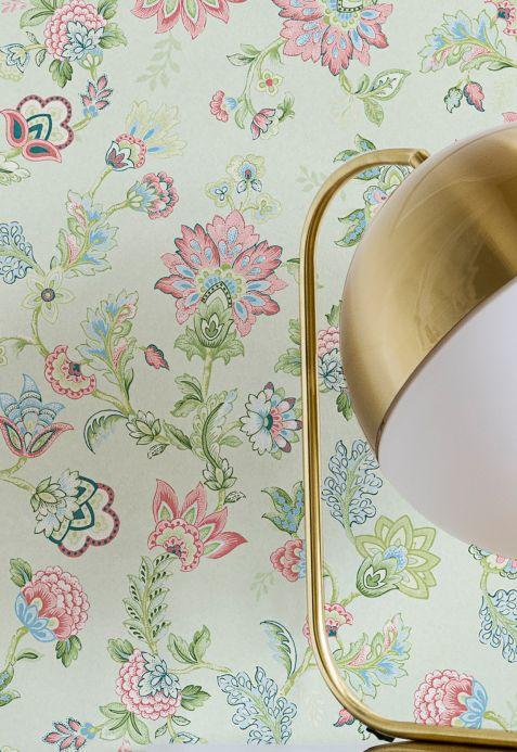 Papel pintado floral Papel pintado Filippa verde pastel Ver habitación