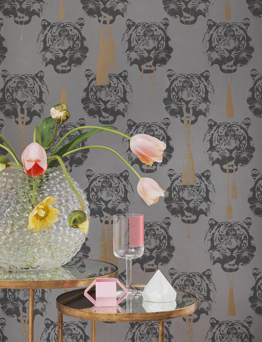 Papel pintado coco tiger gris gris antracita oro - Papel pintado de los 70 ...
