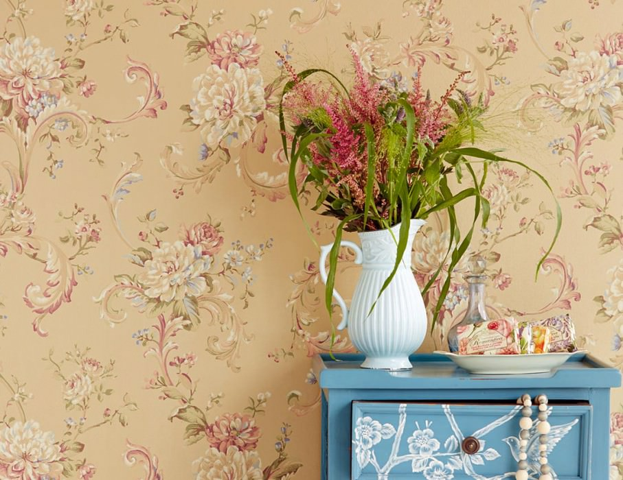 Wallpaper Aurora Hand printed look Matt Blossoms Floral damask Matt gold Claret violet Light brown beige Light ivory Reed green Violet blue