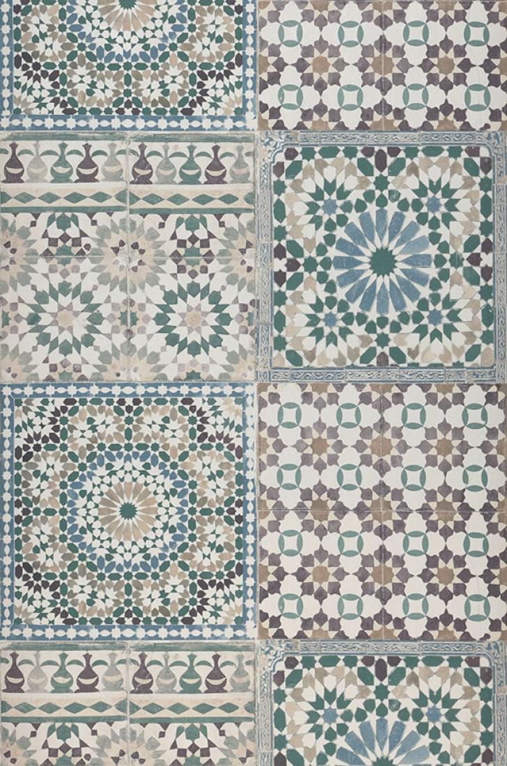 Papel pintado azulejos blanco crema marr n gris ceo for Papel pintado oriental