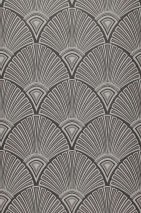 Wallpaper Hekate Matt Art Deco fans Black grey Grey Light grey