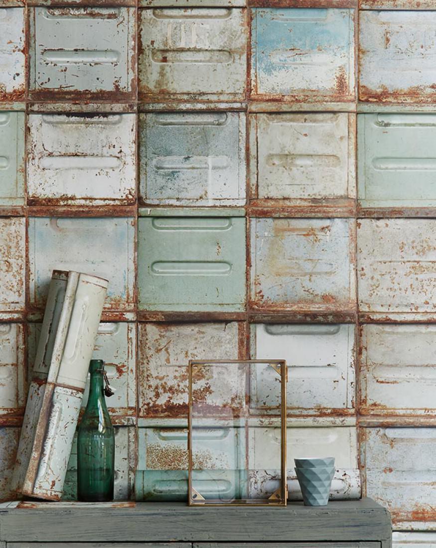 papier peint container vert p le blanc gris brun orange brun s pia papier peint des ann es 70. Black Bedroom Furniture Sets. Home Design Ideas