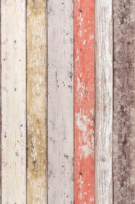Wallpaper Old Planks Matt Old wooden boards Pale red Brown Cream Sand