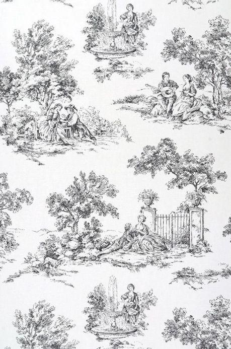 Archiv Wallpaper Toile de Jouy black Roll Width