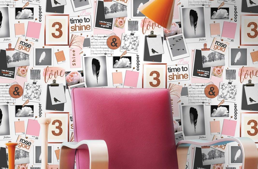 Wallpaper Picture Pins Matt Photos Birds Words Cream Orange-brown glitter Pastel orange Rose Black grey