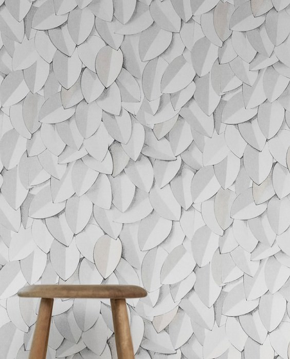 Wallpaper Pencil Drawing 04 Matt Stylised leaves Grey white Light beige grey White