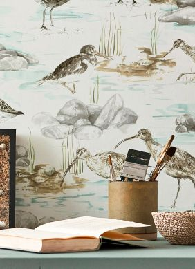 Papel pintado Arielle gris beige Ver habitación