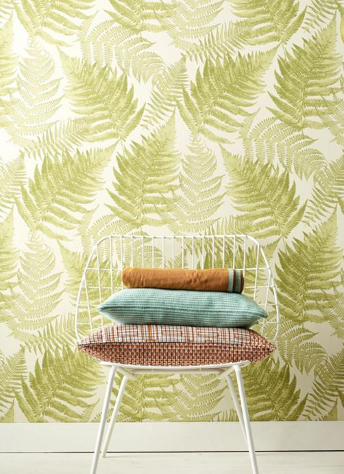Floral wallpaper Wallpaper Franka fern green Room View