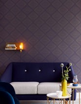 Wallpaper Rigo Shimmering pattern Matt base surface Squares Sapphire blue Gold