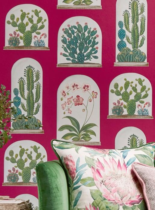 Wallpaper Coralie Matt Plants Terrariums Red violet Beige red Cream shimmer Grey beige Shades of green