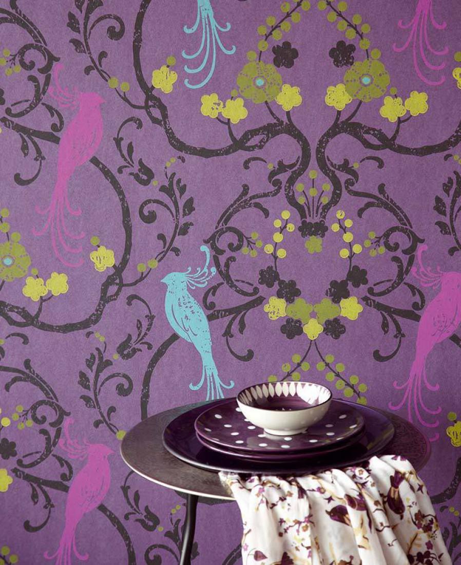 Papel pintado bellona violeta brillante violeta rica for Papel pintado turquesa y marron