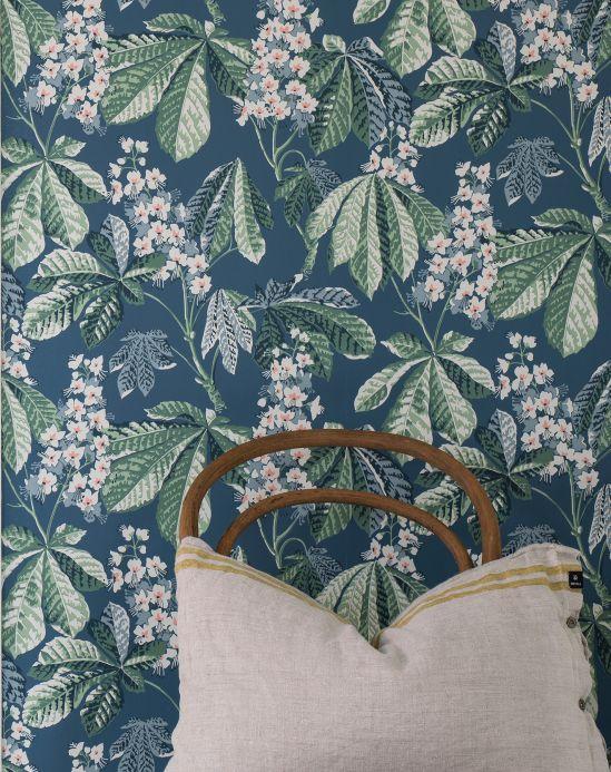 Papel pintado botánico Papel pintado Junes verde pino Ver habitación