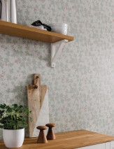 Wallpaper Gwendolin Hand printed look Matt Leaf tendrils Blossoms White grey Grey white Light red Moss grey