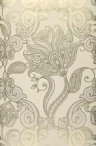 Wallpaper Lawal Iridescent pattern Matt base surface Modern damask Stylised flowers Cream Gold pearlescent Grey white pearlescent White gold shimmer