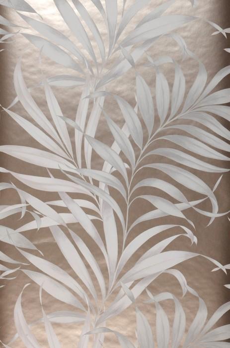 Papier peint Paradiso Motif mat Surface chatoyante Feuilles Beige nacré Blanc crème Blanc gris Gris clair
