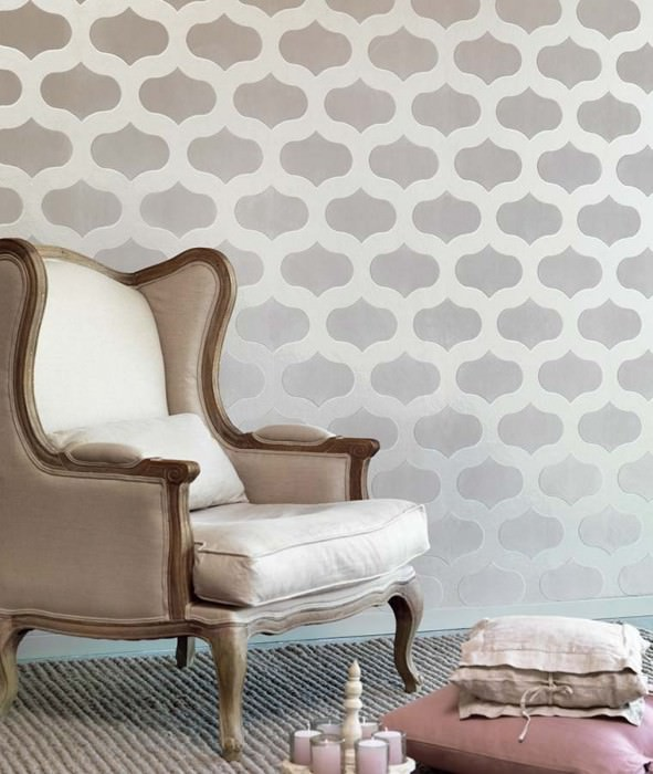 Wallpaper Nanshe Shimmering base surface Oval ornaments Silver shimmer Grey white