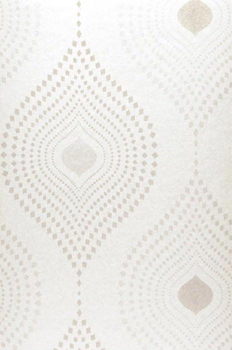 Papel de parede Nereus Brilhante Damasco moderno Branco ostra cintilante Cinza claro Prata