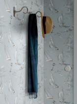 Wallpaper Neptunus Matt Sea gulls People Ships Waves Bojen White blue Light ivory Light grey Mint turquoise Ochre brown