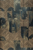 Wallpaper Orest Shimmering pattern Matt base surface African style Graphic elements Pale brown Pearl beige Black Gold shimmer Green blue