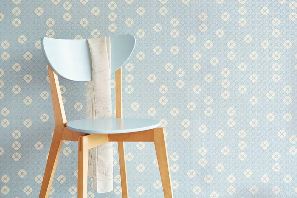 Archiv Wallpaper Korsal pastel light blue Room View