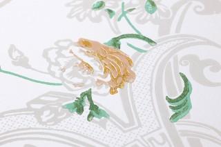 Papel pintado Fasalla Efecto impreso a mano Patrón mate Superficie base brillante Flores Zarcillos estilizados Blanco crema Rosa viejo Beige grisáceo claro Verde hoja Amarillo ocre Rojo rubí