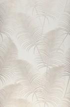 Papel pintado Milva Mate Hojas de palma Blanco crema Beige grisáceo brillante