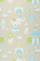 Wallpaper Cirkus Hand printed look Matt Bears Elephants Cats Lions Big Top Light grey beige Light blue Light green White