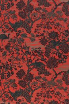 Wallpaper Winsam Hand printed look Matt Trees Graphic elements Birds Orient red Green grey Pearl beige Black