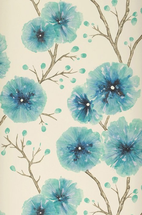 Wallpaper Cerna Matt Branches with leaves and blossoms Cream Beige grey Capri blue Black blue Turquoise blue