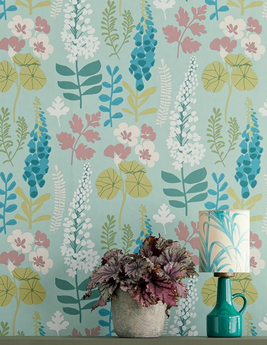 Funky Wallpaper Wallpaper Luzie mint turquoise Room View