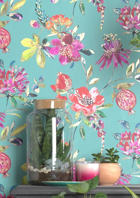 Floral Wallpaper Wallpaper Candice pastel turquoise Room View