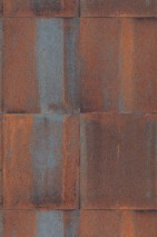Wallpaper Runar Matt Shabby chic Metal imitation Brown Orange brown   Pastel blue