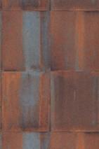 Papel de parede Runar Mate Shabby chic Imitação metal Marrom Marrom alaranjado Azul pastel