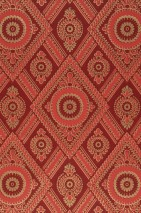 Wallpaper William Hand printed look Matt Historic damask Rhombuses Wine red Gold shimmer Orient red