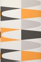 Wallpaper Jaron Matt Geometrical elements White Pale orange Light grey Black grey