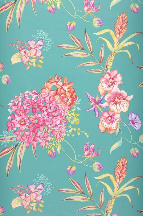 Wallpaper Fenja Matt Flowers Orchids Turquoise blue Yellow green Orange Pink Red Violet