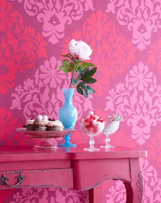 Wallpaper Parvati Fine linen look Matt Floral damask Magenta Heather violet Raspberry red