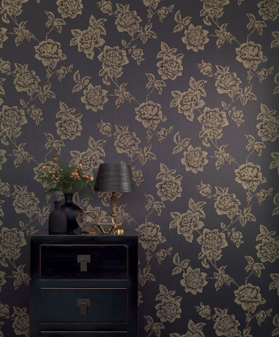 Archiv Wallpaper Evangeline black grey Room View