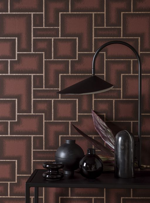 Geometric Wallpaper Wallpaper Adornado brown Room View