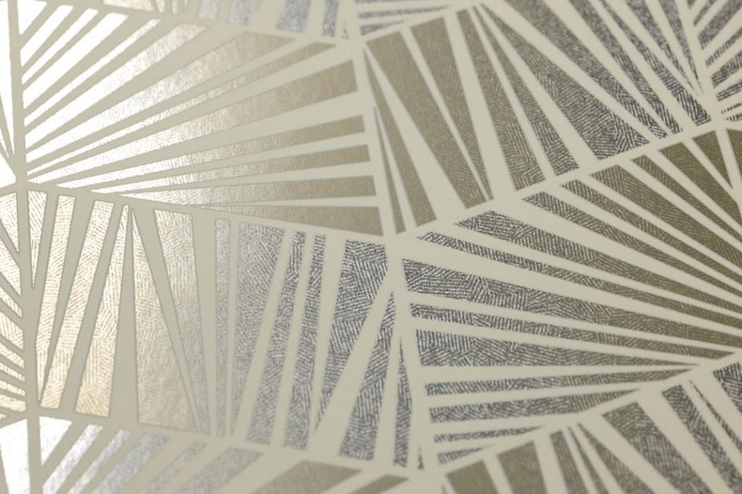 Wallpaper Gimog Shimmering Art Deco Geometrical elements Cream Silver lustre White gold lustre