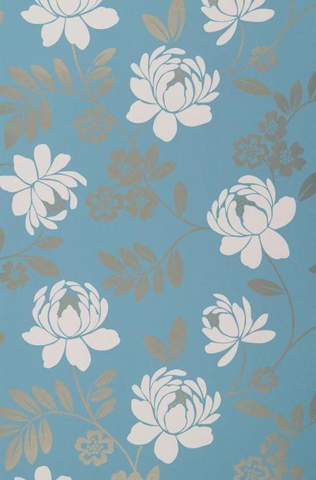 Wallpaper Penelope Shimmering pattern Matt base surface Flowers Turquoise blue Cream Gold shimmer