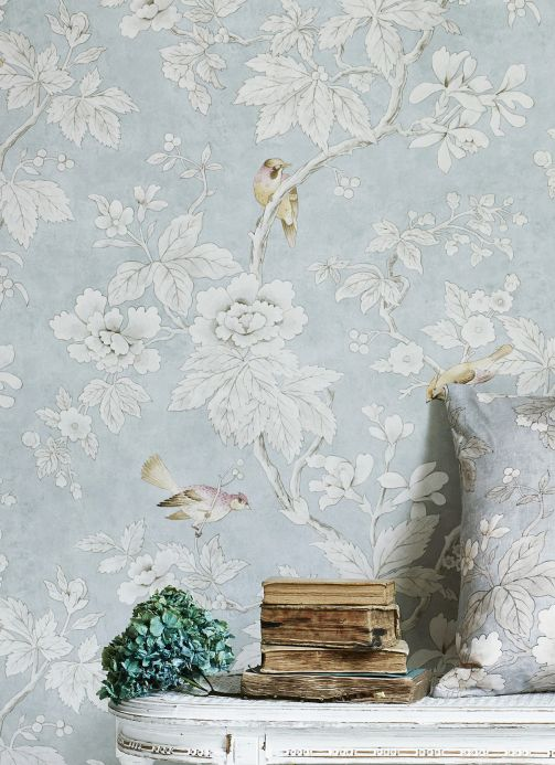Botanical Wallpaper Wallpaper Verdura cream pearl lustre Room View