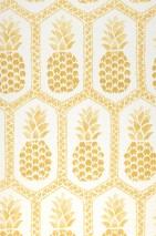 Papel de parede Polly Mate Efeito têxtil  Abacaxi Triângulos Hexágonos Branco creme Ouro brilhante