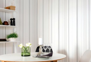 Wallpaper Alanon Hand printed look Matt Stripes White Grey Light grey Black