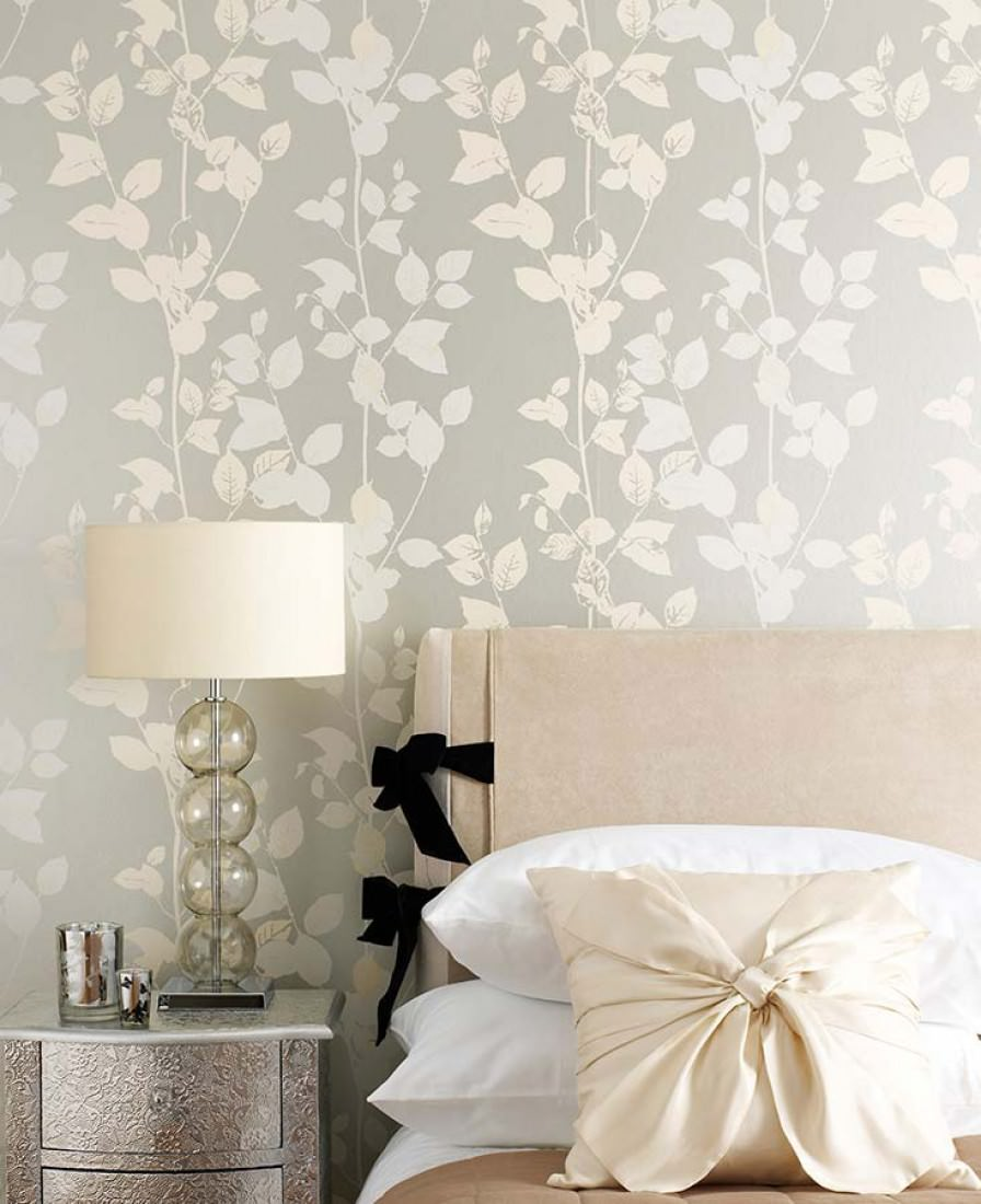 Wallpaper pallas silver cream grey white wallpaper - Papel paredes vintage ...