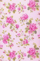 Wallpaper Isabelle Matt Roses Light pastel violet Heather violet Yellow green Magenta
