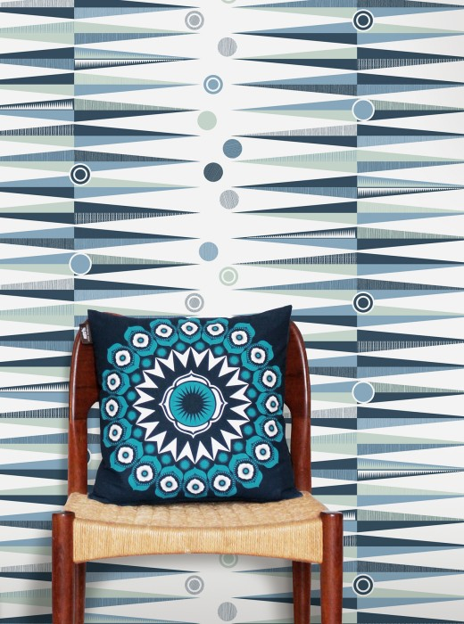 Wallpaper Tudor Matt Geometrical elements White Grey blue Pastel blue Pastel green