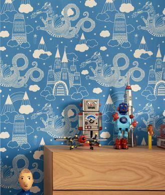 Papel pintado Drakhimlen azul cielo Ver habitación