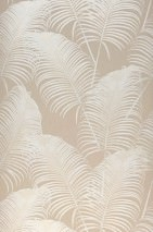 Wallpaper Milva Matt Palm fronds Grey beige Cream shimmer
