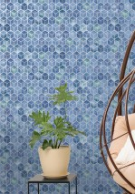 Wallpaper Casimir Shimmering pattern Matt base surface Graphic elements Blue Green Blue violet Pastel blue Silver shimmer